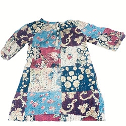 Tea Collection Sz 3t Patchwork Look Dress 3/4 Sleeve Pullover Cotton Multicolor