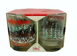 4 Budweiser Beer Clydesdales Libbey 14 Oz Double Sided Glasses Vintage 1989 Nib