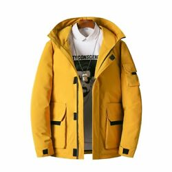 Winter Menand039s Hooded Jacket Thick Cargo Pocket Outwear Puffer Down Coat Warm Chic