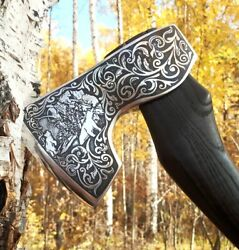 Axe With Artistic Motifs For Camping Country House Hunting Great Gift For A Men