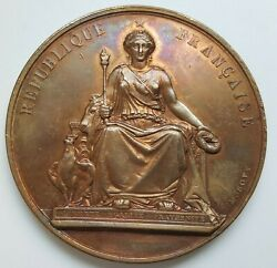 France - Ministry Of Public Education Bronze Medal By A. Bovy, 57 Mm, 88 Gr