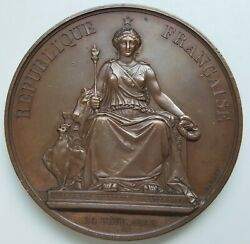 France - Agriculture And Manufacturing Award Copper Medal 1849 By A. Bovy, 57 Mm