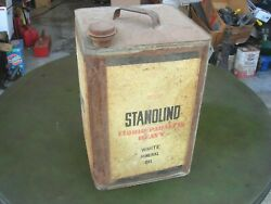 Vintage Standard Oil Stanolind White Mineral Oil Gas Can - Chicago Illinois