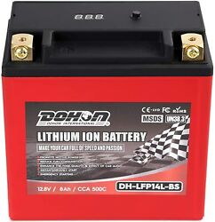 14l-bs Lithium Iron Motorcycle Battery For Harley Davidson Replace Dlfp14l-bs