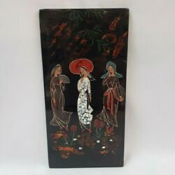 Abalone Inlay Wall Picture Art Gisha Girl Mother Of Pearl Asian Important Wood
