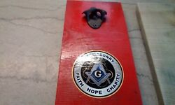 Handmade Wooden Board With Masonic Emblem And Coca Cola Bottle Opener