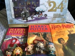 Harry Potter Collection Lot. 3 Books. Funko Advent Calendar And Mini Figures.