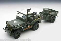 Jeep Willys With Trailer Army Green 118 By Autoart 74016 Brand New In Box Rare
