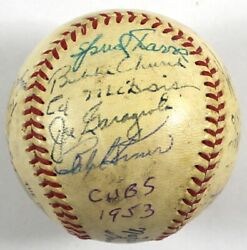 1953 Chicago Cubs Team Signed National League Giles Baseball With Jsa Coa