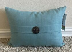 SONOMA Goods for Life Solid Button Outdoor Oblong Throw Pillow Aqua
