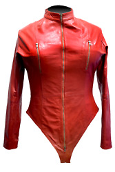 Women's Cosplay Real Leather Catsuit Clubwear Bodysuit Jumpsuit Lace Up Back