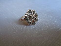 14ct Gold Rose Cut Diamond Cluster Ring. Edwardian. Early 20th Century.