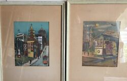 Two Original Hand Produced Silk Screens By Marion Cunningham Of San Francisco