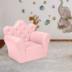 Kids Sofa Armrest Chair Lounge Couch W/ Ottoman Function Children Toddler Pink