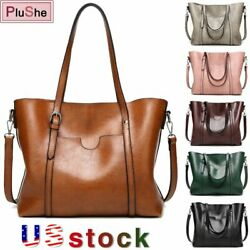 Women Large Retro Handbag PU Leather Shoulder Bag Messenger Tote Purse Satchel $20.58