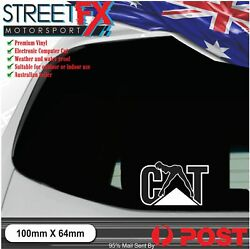 Cat Naughty White Sticker Decal Construction Work Safety Digger Backhoe Car 4x4