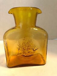 Kanawha Glass Double Spout Water Bottle Carafe Pitcher Amber Gold Clipper Ship
