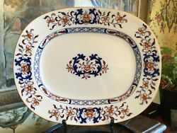 Antique English Minton Blue And White 19th C Platter 16.75 Inches Circa 1880