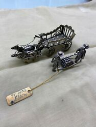 Fine 833 Silver Dutch Miniature Carriage W Figurines Carrying Cannon Ball123.10g