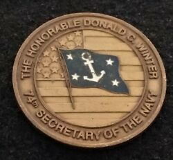 Authentic Secnav Admiral Winter 74th Secretary Of The Navy Usn Us Challenge Coin