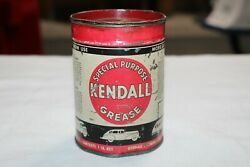 Vintage 1940and039s Kendall Grease Special Purpose Original Oil Can 1lb Water Pump