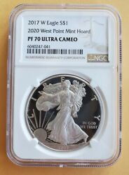 2017 W American Silver Eagle Ngc Graded Pf-70 Ultra Cameo 2020 Mint Hoard