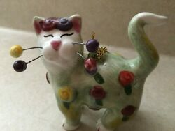 WHIMSICLAY Ceramic Green Cat with Rosettes Ornament