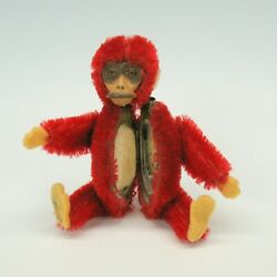 Vintage 1920's Red Schuco Monkey Novelty Powder Compact And Lipstick
