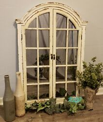 Distressed Rustic Antique Vintage Style Arched Windowpane Doors Wood Wall Mirror