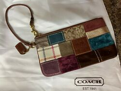 Coach patchwork wristlet leather patent suede fabric teal burgundy bronze brown $12.99