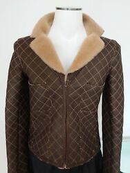 100auth Shearling Leather Jacket Coat Fur Quilted Flap Sz 36 Bag