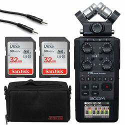 Zoom H6 All Black + 2x 32gb Memory Card + Accessory Pack-8 + Mini Cable