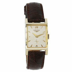 1953 Longines Vintage Tank Watch 14k Yellow Gold With Brown Leather Strap