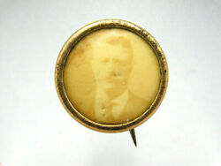1904 Theodore Roosevelt 10k Gold Presidential Campaign Pinback Button Teddy Pin