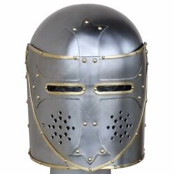 12 Guage Steel Medieval Italian Pot Helmet With Flap-up Face Guard