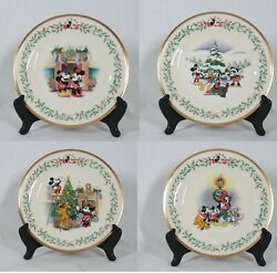 Discontinued Lenox Holiday Set Of 4 Disneyand039s Mickey And Co 8 Plate New With Tags