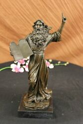 Real Bronze Moses Holding The Ten Commandments Statue Sculpture Figurine Gift