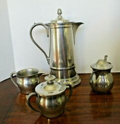 Vintage Woodbury Pewter Coffee Set + Henry Ford Collection Creamer - 4 Pieces