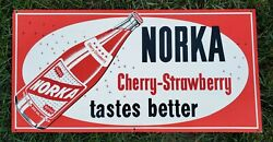 Vintage Rare Norka Embossed Bottle Graphic Tin Soda Advertising Sign Gas Oil