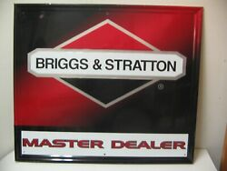 Vintage Briggs And Stratton Master Dealer Metal Embossed Sign 35 By 30 Andnbspv- Nice