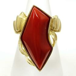 Jewelry 18k Yellow Gold Ring 11.5japan Size Coral About16.3g Free Shipping Used
