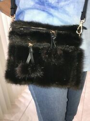 NEW Real Mink Fur Black Crossbody Bag Handbag $49.99