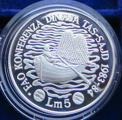 Fisheries Conference Malta 5 Pounds 1983 84 Silver Proof Fao F.a.o. Series Rare