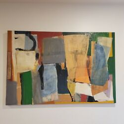 Original Abstract Painting, Mid-cemtury Modern, Acrylic And Collage On Canvas