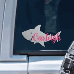 Shark Name Vinyl Decal Sticker Personalized for yeti hydroflask car kids cups $3.00
