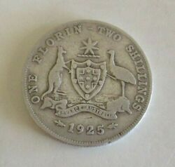 1925 Australian One Florin/two Shillings Coin - Coat Of Arms And George V - Circ.