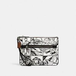 Coach Marvel Gallery Pouch With Comic Book Print White Captain America New