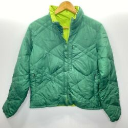 Columbia Womens Quilted Jacket Green Waist Length Zip Up Down Fill High Neck M