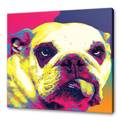 English Bulldog Dog Canvas Print Picture Wall Art Home Decor Free Fast Delivery
