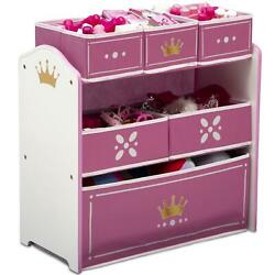 Princess Crown Multi Bin Toy Storage Pink Children Kids Organizer Space Saver
